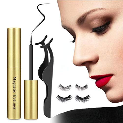 Magnetic Eyelashes With Eyeliner Kit, Upgraded 3D Magnetic Eyelashes, Waterproof Sweat-proof Magnetic Eyeliner Reusable Lashes, with Tweezers No Glue False Eyelashes, Easy to Wear (2 Pairs)