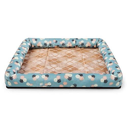 Qinmo Mat Sofa Haustier Bett, Große, mittlere und kleine Katzen- und Hundebetten, Eisseide Matte Sommer Katze und Hundehütte Anti-Kratz mit rutschfestem Boden (Color : C, Size : L)