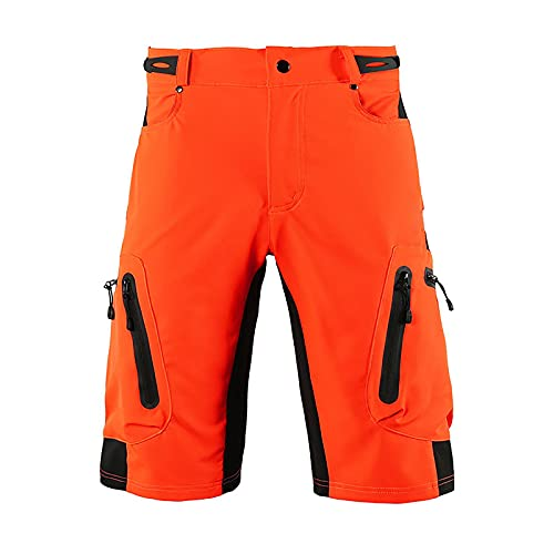 Uphold Pantalones Cortos Ciclismo,Cortos Ciclismo Bicicleta Holgados de Hombres,Transpirables Secado rápido al Aire Libre Cortos,Pantalón Corto Bicicleta para con Bolsillos(Size:Metro,Color:Naranja)