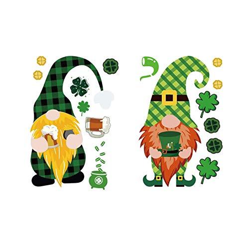 Moent Adhesivo de transferencia de calor para el día de San Patricio, diseño de gnomo irlandés, para manualidades, ropa, sombreros, bufandas, fundas de almohada (multicolor, 2 unidades)
