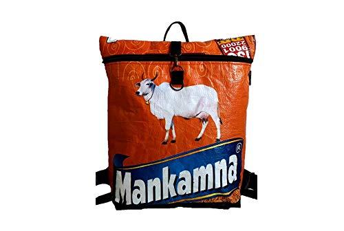 Shakti Milan | Handgefertigter Rucksack Heilige Kuh | Upcycled aus Alten Reis- oder Linsensäcken | Made in Nepal
