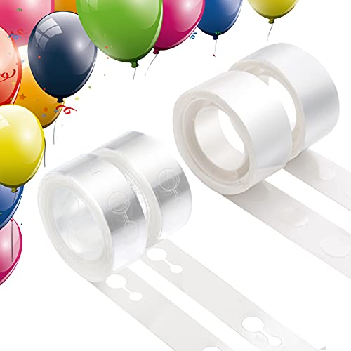 Balloon Arch Decorating Strip Kit for Garland, Includes 32 Feet Double-hole Tape and 200 Points Sticky Dot Strips for Birthday, Wedding, Anniversary Party Decorations