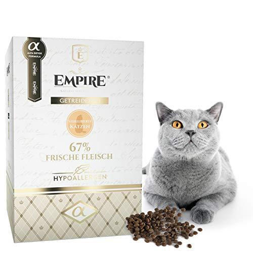 Empire Trockenes Katzenfutter - 1,2kg - Premium Getreidefreies Trockenfutter für Sterilisierte Katzen - Hypoallergen - Glutenfrei - Viel frisches Fleisch - 100% Natürlich - GVOFrei