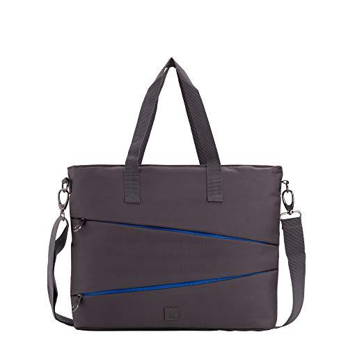 CARPISA® Damen Business Tasche - GO CITY 3 - Arbeitstasche mit verstellbarem Schultergurt - einfarbig mit bunten Details - Größe 37 x 30 x 8 cm, Grau One size