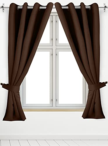 Utopia Bedding 2 Panels Grommet Blackout Curtains with 2 Tie Backs, Thermal Insulated for Bedroom, W52 x L63 Inches, Chocolate