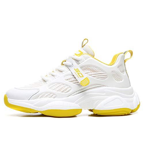 SKTCNB - Zapatillas de deporte para hombre y mujer, ligeras, transpirables, unisex, zapatillas bajas, Amarillo (amarillo), 39 EU