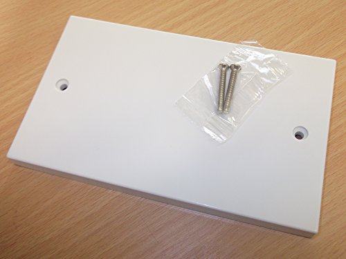 White Electrical Plug Socket Blanking Plate Double with Screws 146 mm x 86 mm