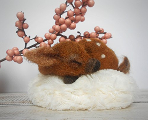 Woodland nursery decor, Woodland animals, Sleeping fawn, Needle felted fawn, Handmade animal, Melkada