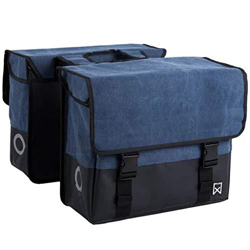 Willex Doppeltasche Stoff Fahrradtasche Gepäcktasche Fahrrad Gepäckträger 40L Blau und Matt-Schwarz 15113