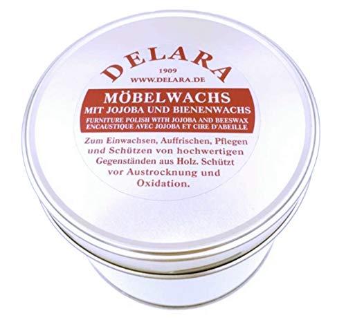 DELARA Cire Haut de Gamme pour Meubles, enrichie au Jojoba et à la Cire d'abeille, Couleur: Noir - Fabriqué en Allemagne