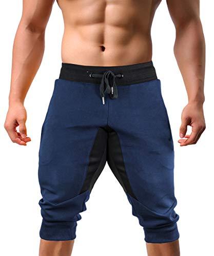 KEFITEVD Felpe da Uomo Bermuda Corti Pantaloni da Tuta 3/4 Pantaloni Fitness Pantaloni da Ciclismo Pantaloni Sportivi da Esterno Pantaloni Blu Scuro 36