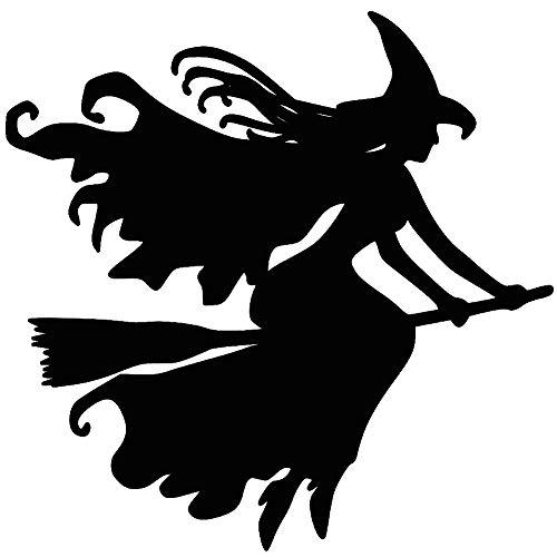 Porfeet Auto Aufkleber, Hexe Auf Besenstiel Halloween Auto Fahrzeug Reflektierende Abziehbilder Aufkleber Dekoration Weiß