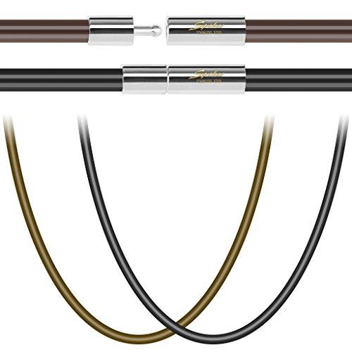 BlackAmazement Kautschuk Kette Band Halskette schwarz braun Sand Magnetverschluss Edelstahl (Schwarz - Länge - 445 mm)