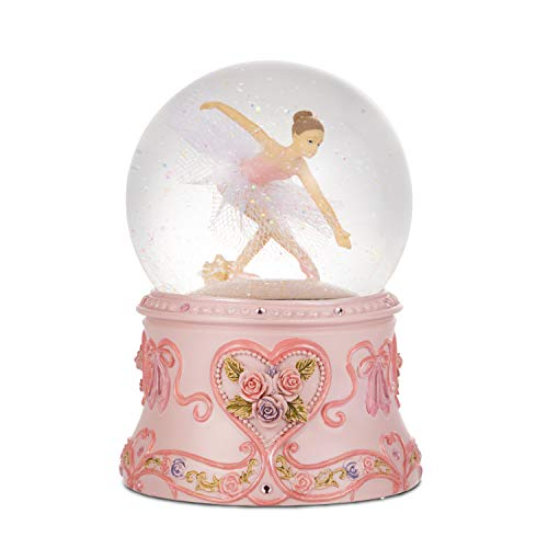 Septwonder Musical Ballerina Snow Globe Ballet Dancer Snowglobe Collectible Present for Dance Recital and Birthday Mechanical Wind-up 4 Inch Snow Globe Plays Swan Lake