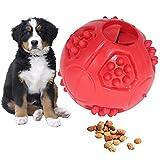Pelotas para perros, juguete para perros, indestructible, juguete interactivo para perros, pelota robusta de caucho natural para perros pequeños y grandes, limpieza de dientes (rojo)
