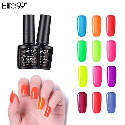 Elite99 Fluorescerende UV nagellak 12 kleuren, gel nagellak UV LED, mes set voor nagel ontwerp gel lak, losweken gel nagellak voor nail art set 10ml