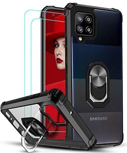 LeYi für Hülle Samsung Galaxy A42 5G mit Panzerglas Schutzfolie(2 Stück),Ringhalter Schutzhülle Acryl Cover Air Cushion Bumper Handy Hüllen für Hülle Samsung Galaxy A42 5G Handyhülle Schwarz