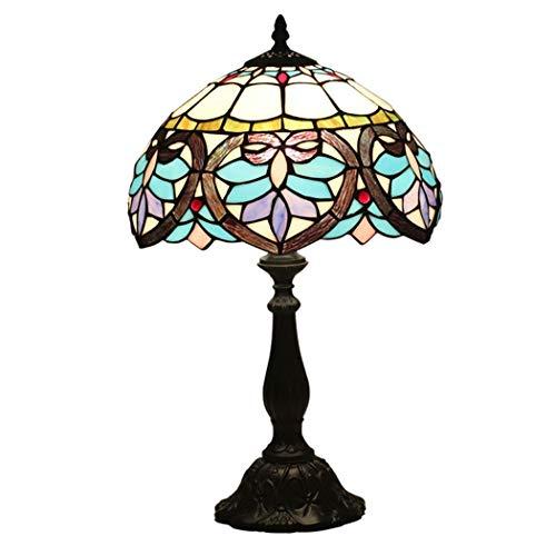 FFAN Lámpara de Mesa Estilo Tiffany, Escritorio Barroco, al Lado de lámparas, 49 cm de Alto/Ancho, 30 cm, Pantalla de vitrales, 1 luz para Mesa de Centro, Sala de Estar, Dormitorio (Material: Resina)