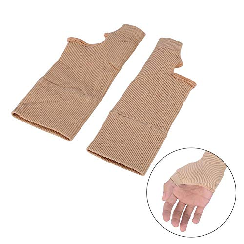 Thumb Hand Wrist Support, 1 Pair Elastic Beige Thumb Support, Gel Silicone Filled Arthritis Joint Sprains Glove for Pain Relief