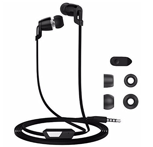 Metal Subwoofer Earphone with Mic In-ear Stereo Earbuds for iPhone iPod iPad Samsung Android Smartphones MP3 Players (JM38 Black)