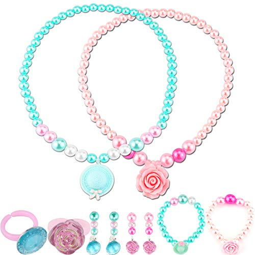 Nexxxi 2 Set Little Girls Beaded Necklaces, Lovely Princess Necklace Bracelet Earring Ring Set Girls, Beaded Jewelry for Girls(Pink and Sky Blue)