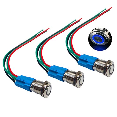 QitinDasen 3Pcs Premium 12V / 24V 3A Interruttore a Pulsante Momentaneo, 12mm Interruttore a Pulsante in Metallo con LED Blu, Interruttore Avviamento Auto in Acciaio Inossidabile impermeabile