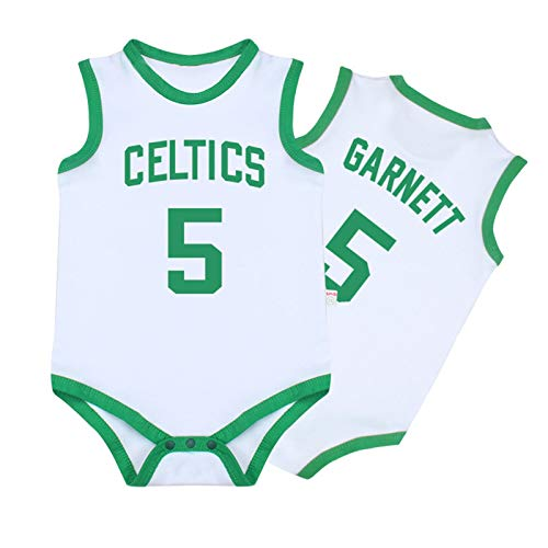 Baby Jersey Summer Warriors Lakers James Romper Camiseta sin Mangas de una Pieza sin Mangas,Green+White,59cm