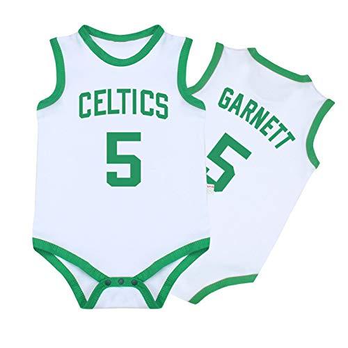 Baby Jersey Summer Warriors Lakers James Romper Camiseta sin Mangas de una Pieza sin Mangas,Green+White,90cm