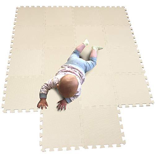 MQIAOHAM kinderen puzzel mat speelmat pleinen schuim speelmat tegels babymatten mat kinderen zachte speelmatten meisje speelmat tapijt in elkaar grijpende Beige 110