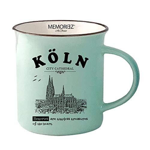 3forCologne Keramik Tasse, Kaffeetasse Teetasse, Kaffeebecher mit Gravur Köln, Kölner Dom, Mint Schwarz
