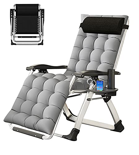NAIZEA Lounge Chair Padded Zero Gravity Chair Folding Adjustable Reclining Patio Chairs with Cup Holder, Ergonomic Patio Recliner Chairs for Kids and Adult for Indoor and Outdoord (Grey Pearl Cotton)