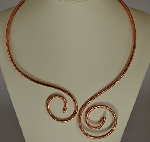 Handmade Copper Viking Torc necklace with Asymmetrical sides