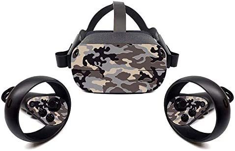 Oculus Quest VR Headset and Controller Sticker, Vinyl Decal Skin for VR Headset and Controller, Virtual Reality Protective Accessories - Brown Camouflage