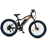 """ECOTRIC 26"""" Fat Tire Electric Bicycle Mountain Bike 500W Motor 36V/12.5AH Powerful Removable Lithium Battery Ebike Beach Snow Shock Absorption (Blue) - UL Certified"""