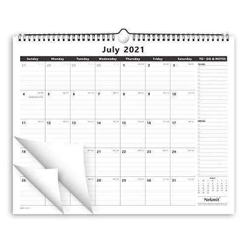 Nekmit 2021-2022 Academic Yearly Monthly Wall Calendar, Wirebound Calendar for Home Schooling Office Plan & Study, Ruled Blocks, 15 x 12, Runs from July 2021 to December 2022, Black