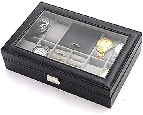 Guuisad Reloj Caja de Caja Hombres PU Pantalla de Cuero Pantalones de Almacenamiento 8 Relojes Gemelos y 8 Slots Anillos Organizador Bandeja con Vidrio Top-Negro