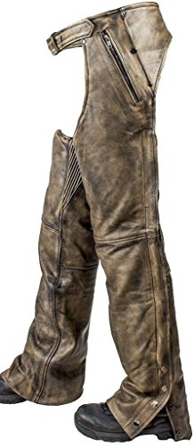 Dream Men's Motorcycle Pant Removable Liner Distressed Leather CHAP with 4 Pockets (Men M Regular)
