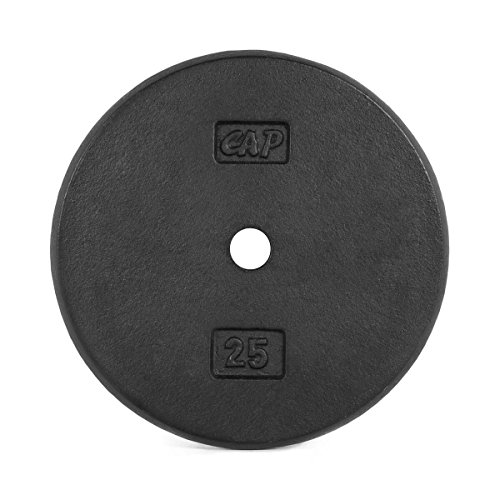 CAP Barbell Standard Free Weight Plate, 1-Inch, 25-Pound, Black