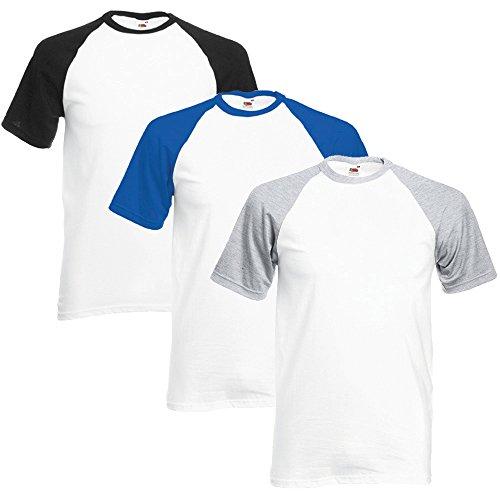 Fruit of the Loom Hombre Pack of 3 Camiseta del béisbol Medium Blanco/Negro, Blanco/Azul Real, Blanco/Gris Brezo