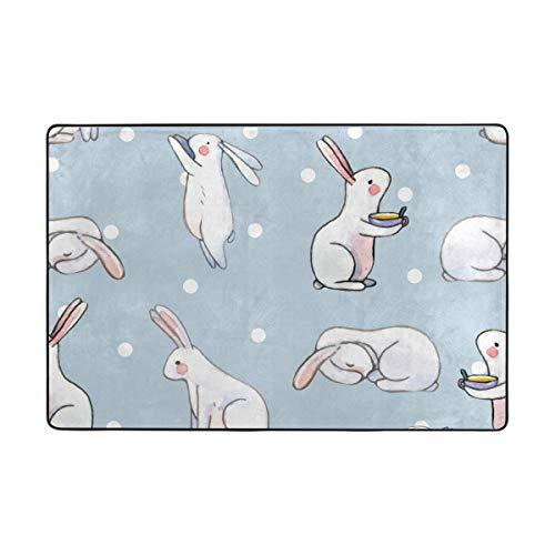 Orediy Weiche Teppiche mit weißem Hase in Punkten, leichte Spielmatte für Kinder, rutschfest, Yoga-Teppich für Wohnzimmer, Schlafzimmer, Polyester, multi, 60 x 90 cm