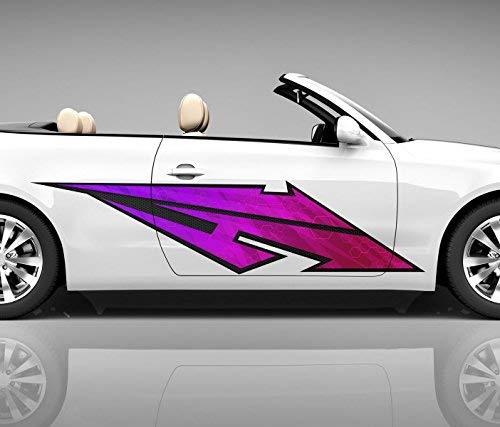 2x Seitendekor 3D Autoaufkleber Blitz pink Digitaldruck Seite Auto Tuning bunt Aufkleber Seitenstreifen Airbrush Racing Autofolie Car Wrapping Tribal Seitentribal CW175, Größe Seiten LxB:ca. 220x50cm