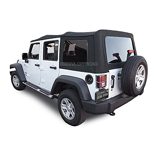 Sierra Offroad Soft Top Replacement for Jeep Wrangler JK 2010-2018 4DR Factory Style, Sailcloth Vinyl, Black