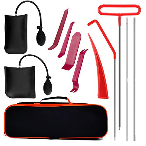 Full Professional Automotive Tool Kit with Long Reach Grabber with Air Wedge Bag Pump Non Marring Wedge for Car
