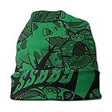 xuexiao Bonnet en tricot pour hommes et femmes - Chapeaux de luge d'hiver pour le temps froid Monster of The Pocket Grass Starters Leaf Beanie Cap noir