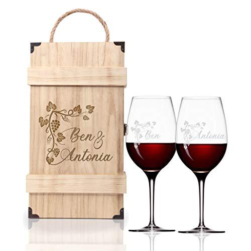 FORYOU24 Premium Weinbox Weinranke mit 2 Leonardo Weingläsern mit Gravur