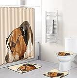 Niedlicher Brauner Welpen-Stoff-Duschvorhang-Satz, Spritzwassergeschützter Schimmelresistenter Polyester-Badvorhang 12 Haken Dekorativ, Badezimmerteppich, Toilettendeckelabdeckung, Teppich In U-Form