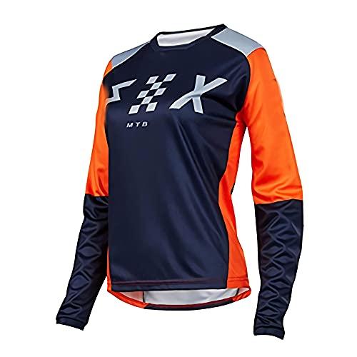 RngCarSticker Bike Jersey Langarm Herren,Rennradbekleidung für Männer,Frauen Downhill Trikots Foxmtb Mountainbike MTB Kleidung Offroad Dh Motorrad Trikot Motocross Fxr Bike Tops Fahrradhemd M