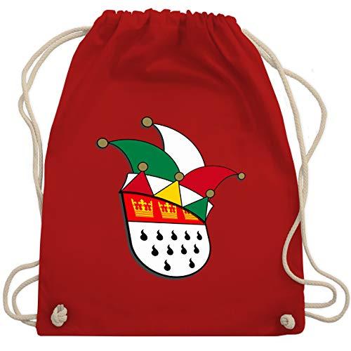 Shirtracer Karneval & Fasching - Köln Wappen Narrenkappe - Unisize - Rot - köln tasche - WM110 - Turnbeutel und Stoffbeutel aus Baumwolle