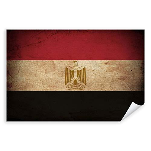 Postereck - 0404 - Vintage Flagge, Fahne Ägypten Kairo - Unterricht Klassenzimmer Schule Wandposter Fotoposter Bilder Wandbild Wandbilder - Poster mit Rahmen - 29,0 cm x 19,0 cm
