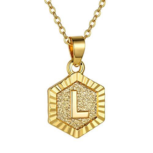 GoldChic Collar L Oro Mujer Iniciales Hombre Cadena con Medalla hexagona
